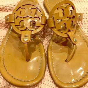 Tory Burch Miller Sandals Camel Beige Size 7.5
